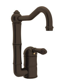 Acqui Single Hole Column Spout Bar and Food Prep Faucet - Tuscan Brass with Metal Lever Handle