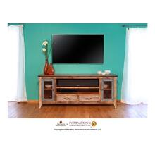 """See Details - 76"""" TV Stand w/2 drawers and 2 iron mesh doors"""