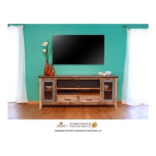 "76"" TV Stand w/2 drawers and 2 iron mesh doors"