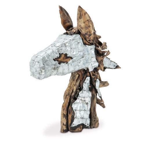 Amini - Horse Head W/hand Applied Aluminum Accents