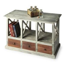 See Details - Boldly combining brown wood tones on the drawer fronts with a gray driftwood patina overall gives this table a compelling sophistication ™ distressed and antiqued. Crafted from mango wood solids and wood products, the table offers substantial storage and display space.