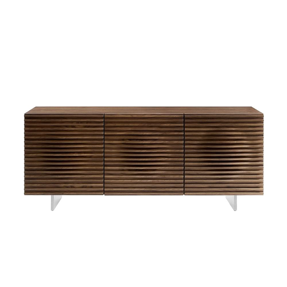 The Moon Buffet-server In Walnut Veneer And Brushed Stainless Steel