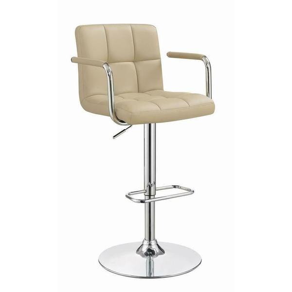 See Details - Contemporary Beige Adjustable Bar Stool
