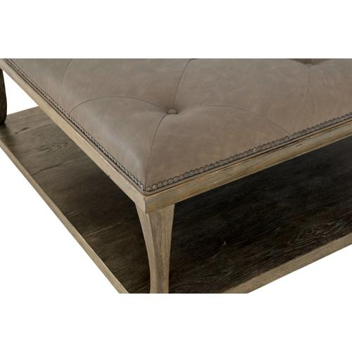 Rustic Patina Upholstered Cocktail Table in Peppercorn (387)