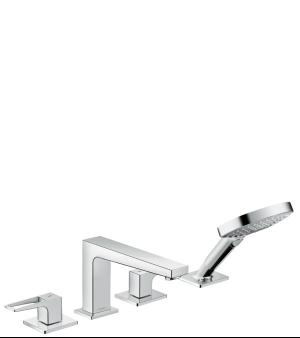 Chrome 4-Hole Roman Tub Set Trim with Loop Handles and 1.75 GPM Handshower Product Image