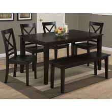 Simplicity Espresso Rectangle Dining Table With Three X Back Dining Chairs and One Bench
