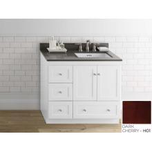 "View Product - Shaker 36"" Bathroom Vanity Cabinet Base in Dark Cherry - Wood Doors on Right"