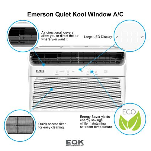 Emerson Quiet Kool - Emerson Quiet Kool SMART Window Air Conditioner,12,000 Btu 115V, With Wifi and Voice Control, Works with Amazon Alexa and Google Home, Energy Star Certified, EBRC12RSE1H