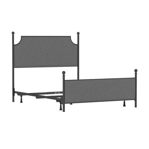 Mcarthur Queen Metal and Upholstered Bed, Matte Black With Gray Fabric