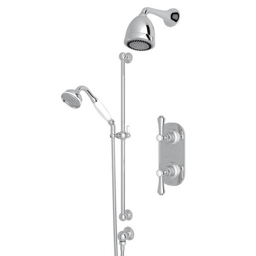 Polished Chrome GEORGIAN ERA THERMOSTATIC SHOWER PACKAGE with Georgian Era Metal Lever With Porcelain Cap