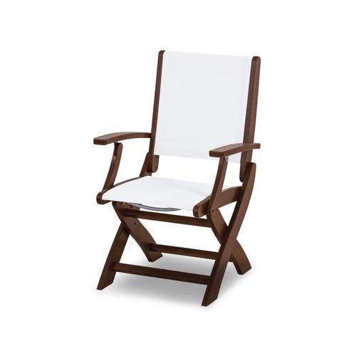 Mahogany & White Coastal Folding Chair