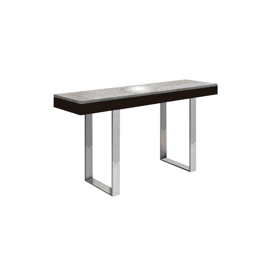 The Glacier Console Table In White Marbled Porcelain Top On Glass With Polished Stainless Steel Base