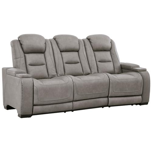 Signature Design By Ashley - Power Leather Sofa with Adjustable Headrest, Lumbar, Reading Lights and Wireless Cell Phone Charging