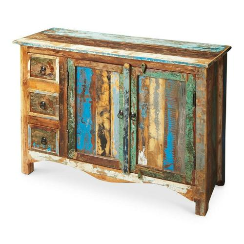 Butler Specialty Company - Crafted from assorted recycled wood solids and hand painted with a sense of childlike Crayola abandon, this compelling Sideboard serves up the exuberant cacophony of a soaring spirit. The piece boasts abundant storage behind two doors and inside three drawers, each opened by complementary black iron finished hardware.
