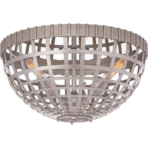 AERIN Mill 3 Light 15 inch Burnished Silver Leaf Flush Mount Ceiling Light, Small