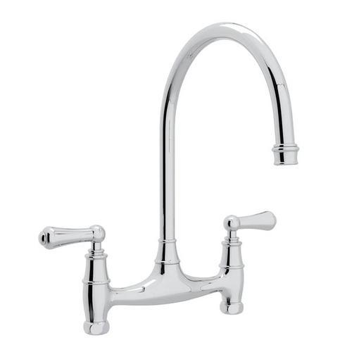 Georgian Era Bridge Kitchen Faucet - Polished Chrome with Metal Lever Handle