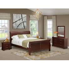 West Furniture Louis Philippe 5 Piece Queen Size Bedroom Set in Phillip Walnut Finish with Queen Bed,2 Nightstands ,Dresser, Mirror,
