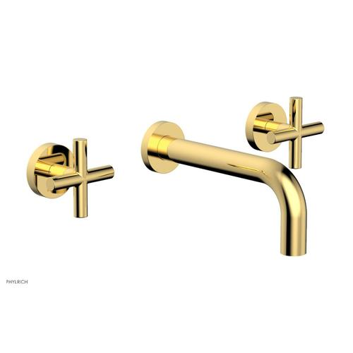 """Phylrich - TRANSITION - Wall Lavatory Set 7 1/2"""" Spout - Cross Handles 120-11 - Polished Gold"""