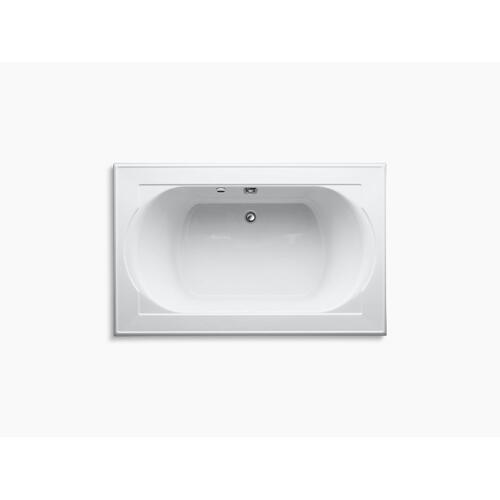 "White 66"" X 42"" Drop-in Bath With Bask Heated Surface and Reversible Drain"