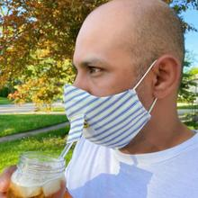 See Details - Happy Hour Reusable Face Mask in Denim Ticking Stripe