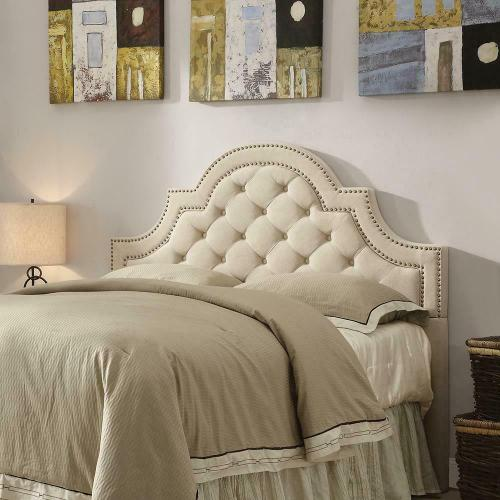 Ojai Traditional Beige Upholstered King Headboard