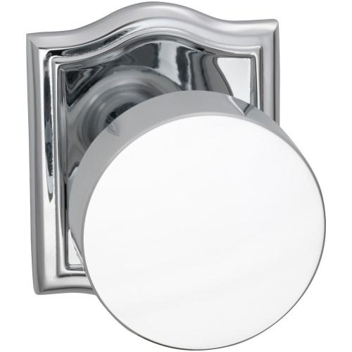 Product Image - Interior Modern Knob Latchset with Arched Rose in (US26 Polished Chrome Plated)