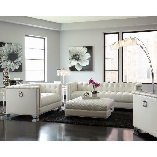 Coaster - Chaviano Contemporary White Ottoman