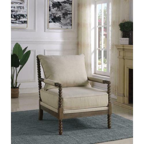 Traditional Oatmeal and Natural Accent Chair