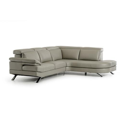 VIG Furniture - Estro Salotti Glenda - Italian Modern Grey Leather Right Facing Sectional Sofa