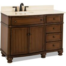 "48"" Walnut vanity with Antique Brushed Satin Brass hardware, bead board doors, curved front, and preassembled Cream Marble top and offset oval bowl"