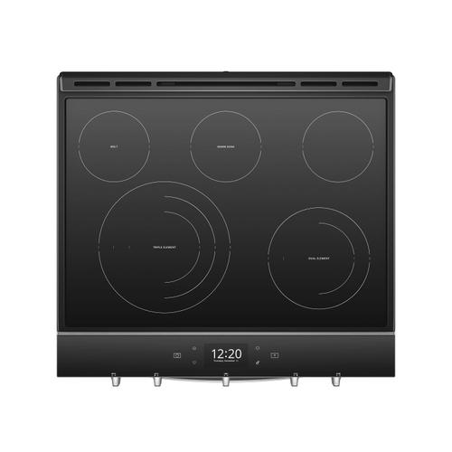 Whirlpool - 6.4 cu. ft. Smart Slide-in Electric Range with Scan-to-Cook Technology Fingerprint Resistant Stainless Steel