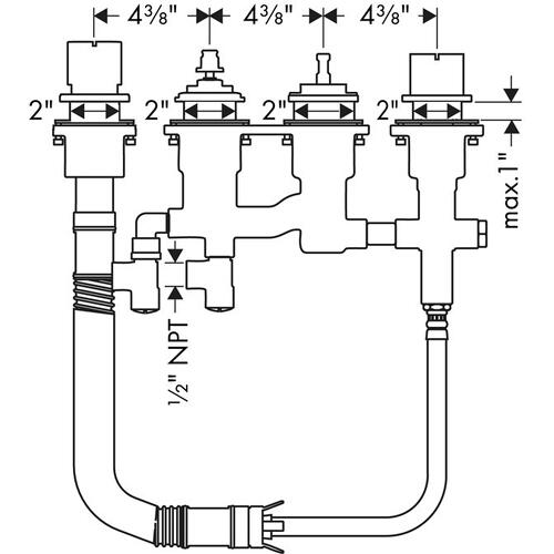 Rough, 4-Hole Thermostatic Roman Tub Set