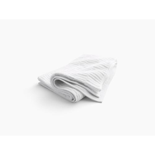 "White Bath Towel With Tatami Weave, 30"" X 58"""