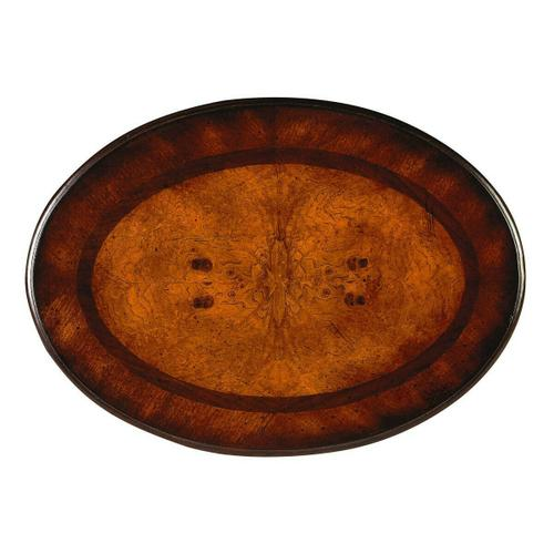 Butler Specialty Company - This charming oval side table combines elegant design details with convenient storage. It features a rich, hand rubbed Plantation Cherry finish with light distressing. Hand crafted from select hardwood solids and wood products, it has an attractive ash burl veneer top inset surrounded by walnut and cherry veneer borders . Includes two drawers with antique brass finished hardware.