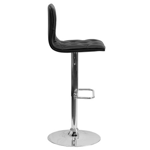 Alamont Furniture - Contemporary Tufted Black Vinyl Adjustable Height Barstool with Chrome Base