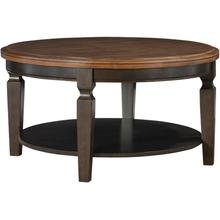 Round Coffee Table in Hickory & Coal
