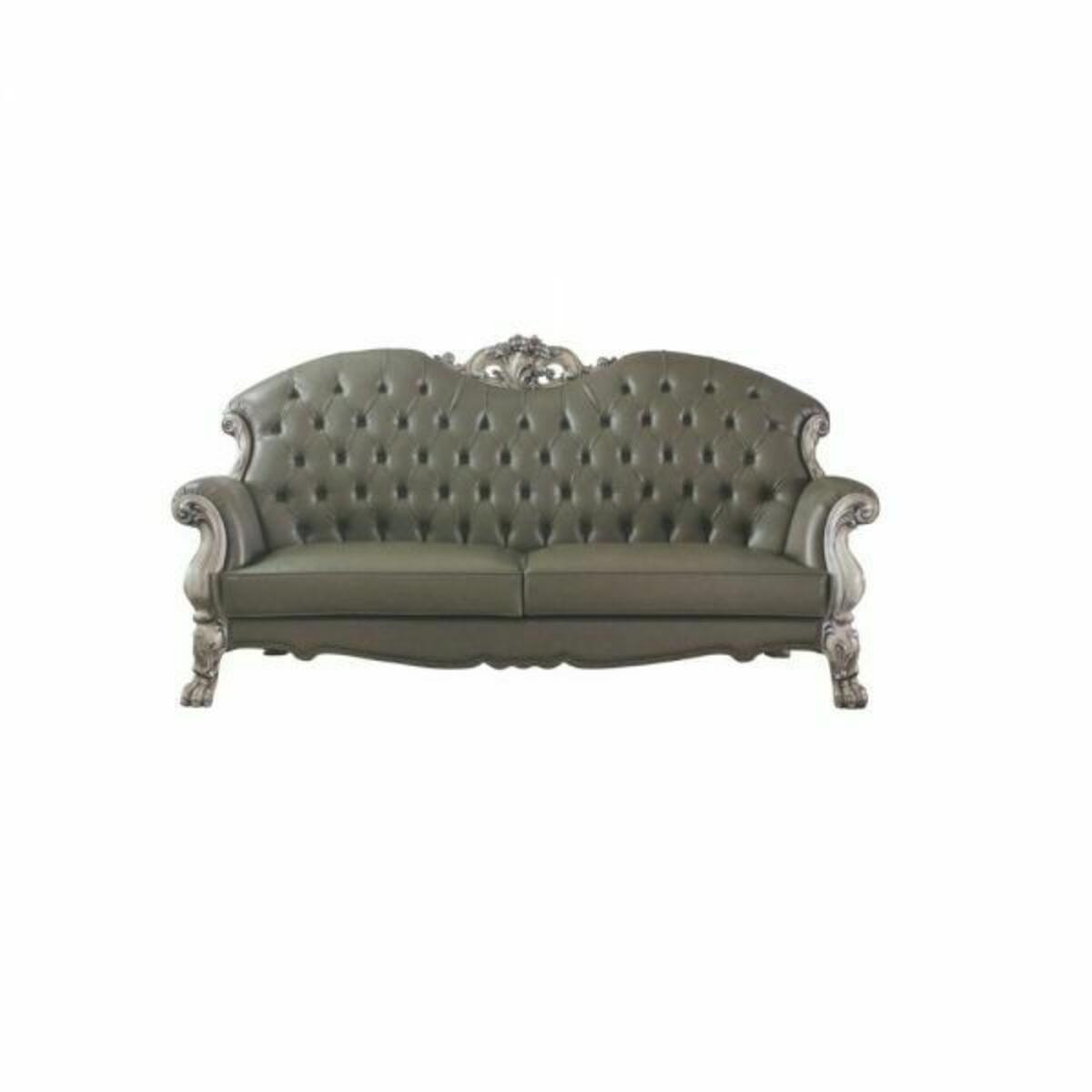 ACME Dresden Sofa w/5 Pillows - 58175 - Traditional, Vintage - PU, Frame: Wood (Poplar, Ply), Poly-Resin (Fiberglass) - Vintage Bone White and PU