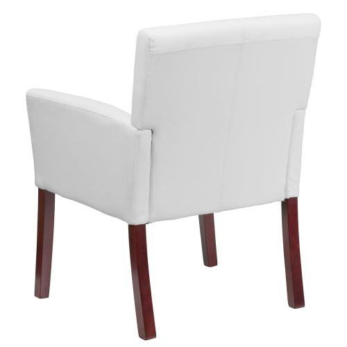 White Leather Executive Side Reception Chair with Mahogany Legs