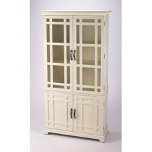 Versatile style abounds with this clean-lined tall storage cabinet. Two top doors are adornned with glass fronts, which enclose three tiers of shelving and provides space to place your favorite accent pieces. Two bottom doors open to reveal a spot to stas
