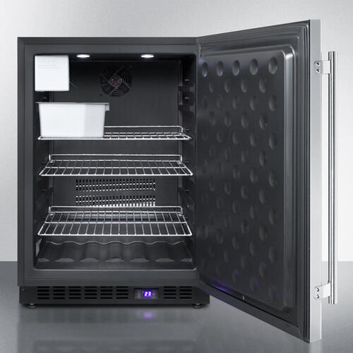 Frost-free Outdoor All-freezer for Built-in or Freestanding Use With Icemaker, Black Cabinet, Ss Door, Digital Thermostat, LED Lighting, and Lock
