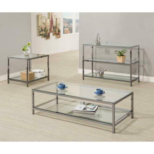 Coaster - Contemporary Black Nickel Rectangle Cocktail Table
