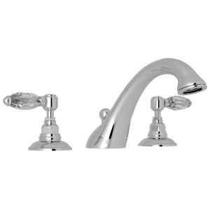 Polished Chrome Viaggio 3-Hole Deck Mount C-Spout Tub Filler with Crystal Lever Product Image