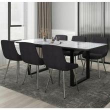 See Details - Gavin/Cassidy 7pc Dining Set, Black/Black