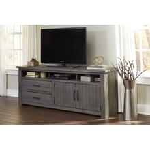 See Details - 74 Inch Console - Distressed Dark Gray Finish