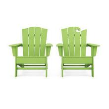 View Product - Wave 2-Piece Adirondack Chair Set with The Crest Chair in Vintage Lime