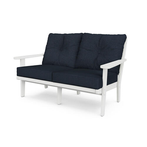 White & Marine Indigo Lakeside Deep Seating Loveseat