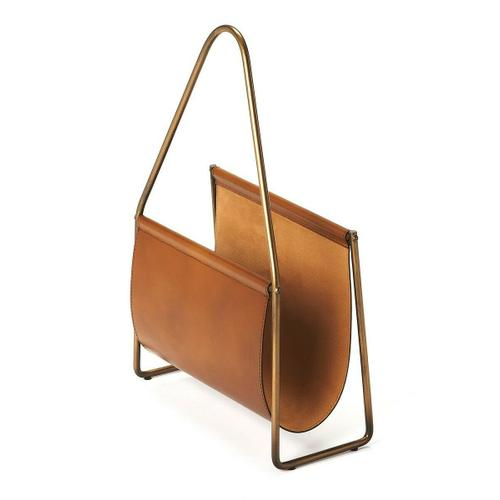 Butler Specialty Company - This generously sized magazine basket is great for organizing or decorating. A masterwork of leather handmade by skilled artisans, this magazine holder is sure to look stunning in any room of the house. Made of genuine leather, it is accented with an antique finished brass, iron handle and frame . The soft brown design with is extremely versatile in its function, it is the perfect size to pop next to your favorite chair and is sure to be a modern classic with its timeless appeal.