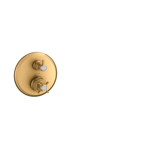 Brushed Gold Optic Thermostat for concealed installation with cross handle and shut-off/ diverter valve