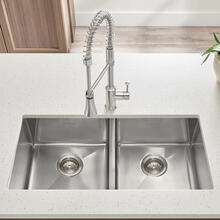 """View Product - Pekoe 29x18"""" ADA Double Bowl Stainless Steel Kitchen Sink  American Standard - Stainless Steel"""