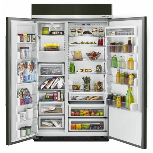 KitchenAid - 30.0 cu. ft 48-Inch Width Built-In Side by Side Refrigerator with PrintShield™ Finish - Black Stainless